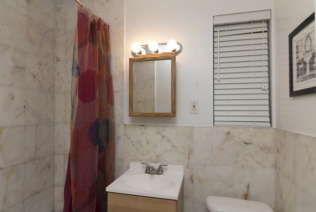 Bathroom includes towel